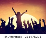 group of people party in back... | Shutterstock . vector #211476271