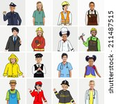multiethnic group of children... | Shutterstock . vector #211487515