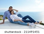 romantic happy young couple... | Shutterstock . vector #211491451