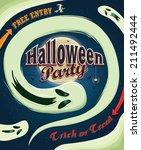 vintage halloween poster design ... | Shutterstock .eps vector #211492444