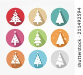 icons set with christmas tree... | Shutterstock .eps vector #211492594