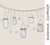 hand drawn jars background  ... | Shutterstock .eps vector #211496329
