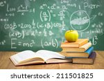 stack of books in classroom ... | Shutterstock . vector #211501825