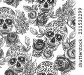 skull and flowers monochrome... | Shutterstock .eps vector #211532299