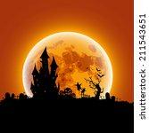 happy halloween message design... | Shutterstock .eps vector #211543651