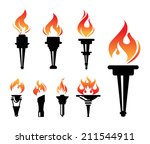 torch icons set | Shutterstock .eps vector #211544911