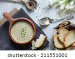 mushroom cream soup with rusks | Shutterstock . vector #211551001