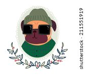 fashionable pug hipster in... | Shutterstock . vector #211551919