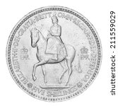 Small photo of Old English Five Shilling Piece (with clipping path)