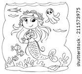 black and white cute mermaid...   Shutterstock .eps vector #211573975