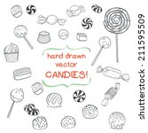 cute set of hand drawn doodle... | Shutterstock .eps vector #211595509