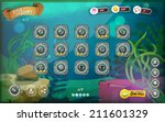 Submarine Game User Interface For Tablet/ Illustration of a funny submarine sea graphic game ui background, in cartoon style with basic buttons and functions, status bar, for wide screen tablet