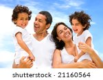 happy family smiling outdoors... | Shutterstock . vector #21160564