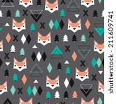 seamless christmas fox... | Shutterstock .eps vector #211609741