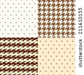 set of polka dots and dogtooth... | Shutterstock .eps vector #211610155