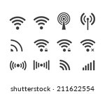 different black vector wireless ... | Shutterstock .eps vector #211622554