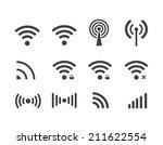 different black vector wireless ... | Shutterstock .eps vector #211622554