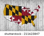 maryland flag with america map... | Shutterstock . vector #211623847