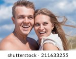 happy young couple smiling and... | Shutterstock . vector #211633255