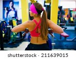 beautiful sport  woman fitness... | Shutterstock . vector #211639015