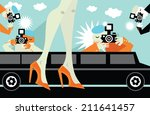 paparazzi taking pictures of... | Shutterstock .eps vector #211641457