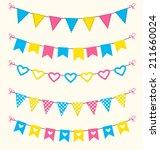 bunting set retro pink  blue ... | Shutterstock .eps vector #211660024