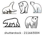 white polar bears set in... | Shutterstock .eps vector #211665004