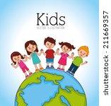 kids design over blue... | Shutterstock .eps vector #211669357