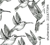 colibri drawing seamless... | Shutterstock . vector #211677394