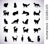 set of isolated cat silhouettes ... | Shutterstock .eps vector #211681105