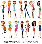 fashion girls | Shutterstock .eps vector #211694434