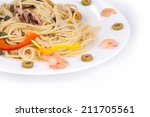 tasty italian pasta with...   Shutterstock . vector #211705561