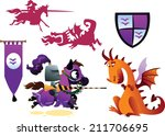 funny knight riding a horse and ... | Shutterstock .eps vector #211706695