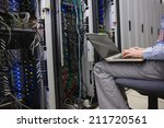 technician sitting on swivel... | Shutterstock . vector #211720561