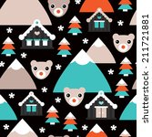 seamless polar bear christmas... | Shutterstock .eps vector #211721881