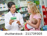 cheerful pharmacist chemist... | Shutterstock . vector #211739305