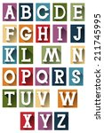 colorful retro alphabet | Shutterstock .eps vector #211745995