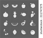 white fruit icon set on grey... | Shutterstock . vector #211747375