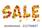 sale inscription from autumn... | Shutterstock .eps vector #211756837