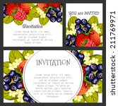 set of invitations with floral... | Shutterstock . vector #211769971