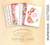 set of vintage card design with ... | Shutterstock .eps vector #211772221