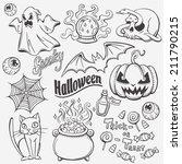 halloween doodles set | Shutterstock .eps vector #211790215