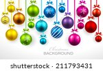 christmas balls with ribbon and ... | Shutterstock .eps vector #211793431