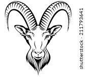 stylizing goat's head isolated...
