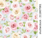 seamless pattern with pink and... | Shutterstock .eps vector #211807081