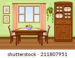 dining room interior with table ... | Shutterstock .eps vector #211807951
