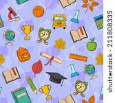 seamless pattern back to school ... | Shutterstock .eps vector #211808335