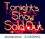 tonight's show sold out neon | Shutterstock . vector #211810441