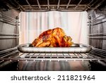 roast chicken in the oven.... | Shutterstock . vector #211821964