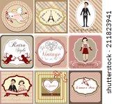 vintage  invitation card  set... | Shutterstock .eps vector #211823941